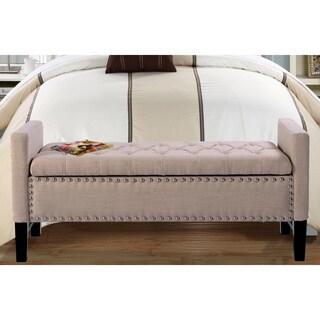 Chic Home Lance Beige, Black, Blue, Brown, Cream, Grey Birch, Faux Leather, Linen, Velvet Button Tufted Trim Storage Bench