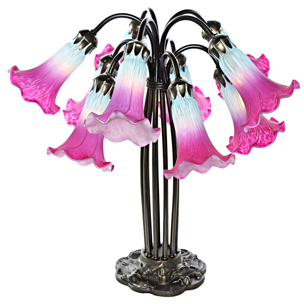 River Of Goods Lily Magenta/Light Blue Hand-painted Glass...