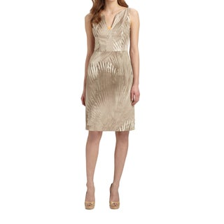 Elie Tahari Nessa Beige Stretch Cotton Sleeveless Sheath Dress