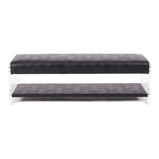Chic Home Chaplin Glossy Bonded Leather/ Acrylic/ Foam Flat Seat Bottom Shelf Bench