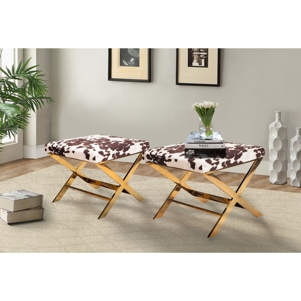 Chic Home Diddle Metal/ Faux Cow Fur X Leg Ottoman   Free Shipping Today    Overstock.com   18748712