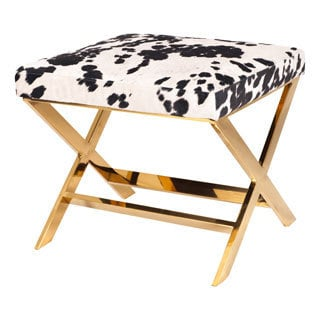 Chic Home Diddle Metal/ Faux Cow Fur X-leg Ottoman