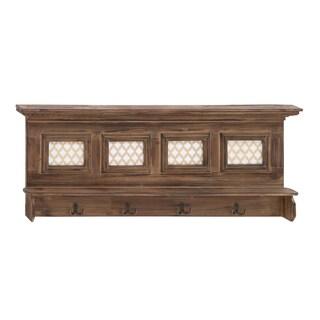 Wooden 4-hook Wall Shelf