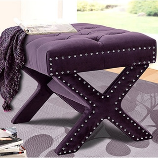 Chic Home Neil Button-tufted with Silver Nailhead Trim X-Leg Ottoman