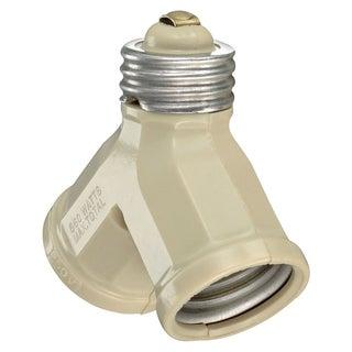 Leviton 006-128-00I Ivory Twin Lamp Socket Light Adapter
