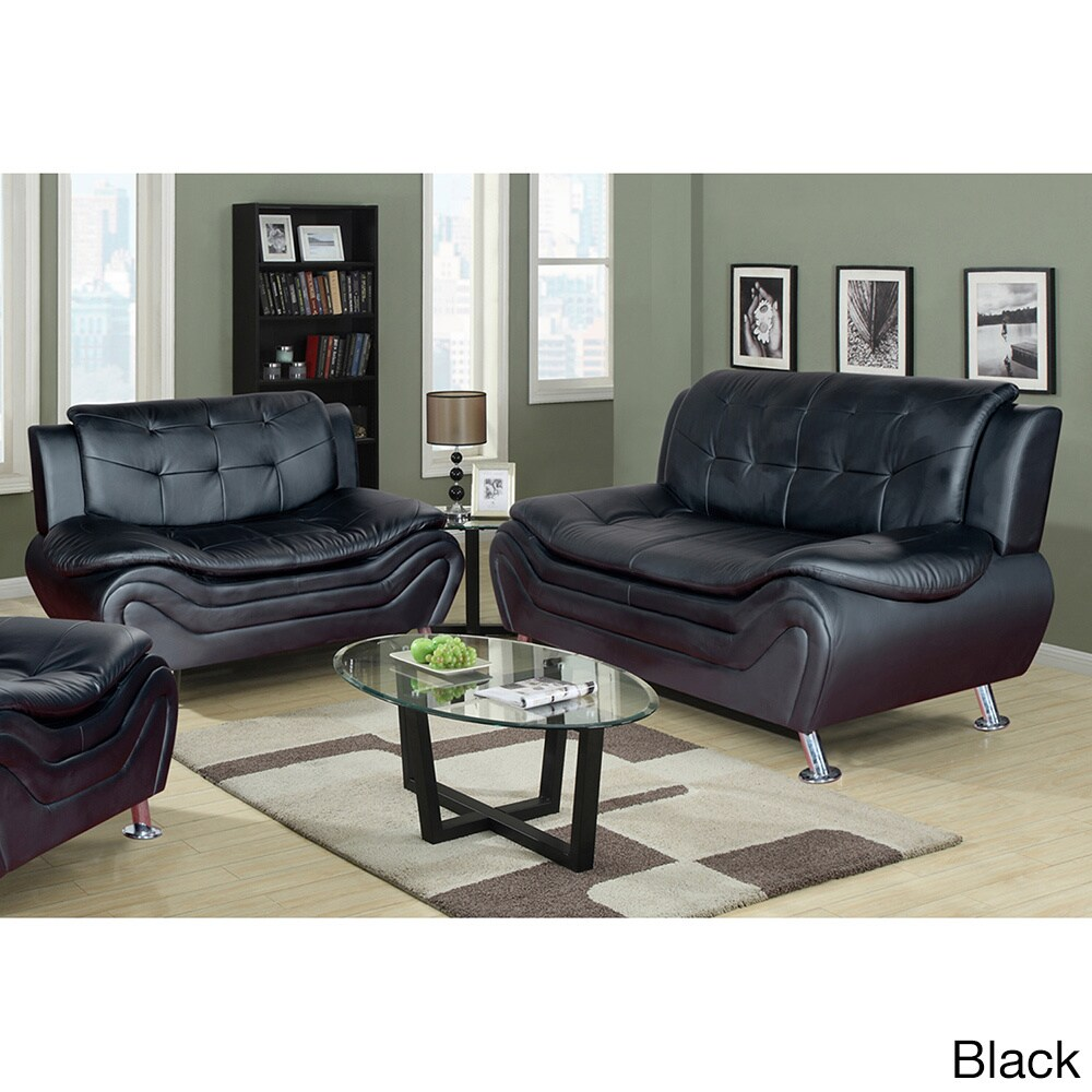 Ellena Faux Black/Red/White Leather Modern Living Room So...