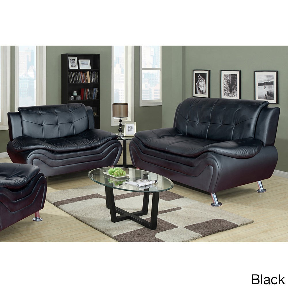 Ellena Faux Black/Red/White Leather Modern Living Room Sofa And Loveseat  (Set