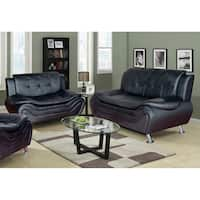 Ellena Faux Black/Red/White Leather Modern Living Room Sofa and Loveseat (Set of 2)