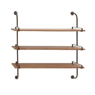 Brown Wooden 3-shelf Wall Unit