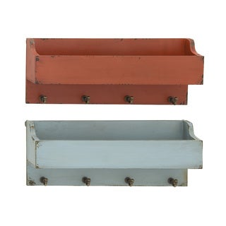 Red and Grey Wood Wall Shelves with Hooks (Set of 2)