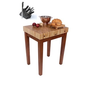 John Boos CU-CB3024CR Cherry-stain Wooden Table30x24 with Bonus Henckels 13-piece Knife Set