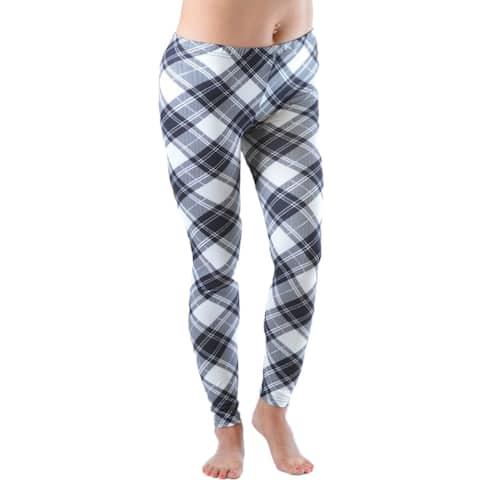 Women's Plus Size Black and White Plaid Leggings