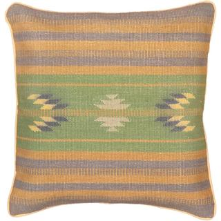 eCarpetGallery Hand-made Ottoman Kilim Blue/Green Wool Cushion Cover (1'5 x 1'5)