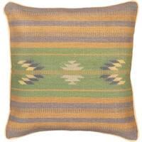 eCarpetGallery Handmade Ottoman Kilim Blue/Green Wool Cushion Cover (1'5 x 1'5)