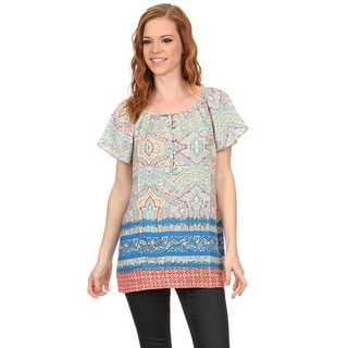 MOA Collection Women's Multicolor Paisley Flutter Sleeve Tunic Blouse