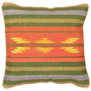 eCarpetGallery Ottoman Handmade Beige/Pink Wool Kilim Cushion Cover (1'5 x 1'5)