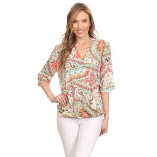 MOA Collection Women's Multi-colored Polyester and Spandex 3/4-sleeve Blouse (Option: Green)|https://ak1.ostkcdn.com/images/products/11846409/P18748855.jpg?impolicy=medium