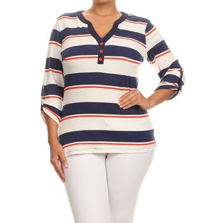 MOA Collection Women's Plus Size Striped V-neck Top