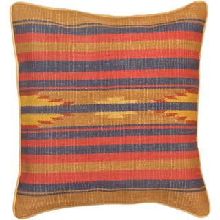 eCarpetGallery Brown, Pink, Camel and Navy Wool .25-inch x 17-inch x 17-inch Hand-made Ottoman Kilim Cushion Cover