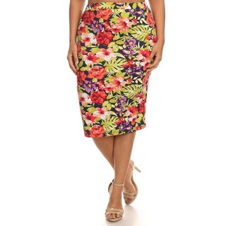 MOA Collection Women's Plus Size Floral Polyster Spandex Pencil Skirt