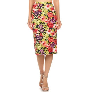 MOA Collection Women's Floral Polyester and Spandex Knee-length Pencil Skirt
