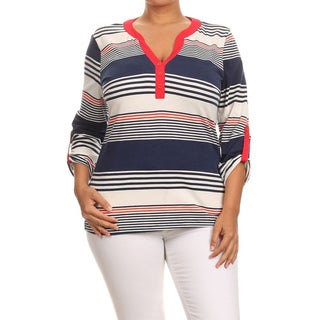 MOA Collection Women's Plus Size Multi-Color Polyester and Spandex V-Neck Top