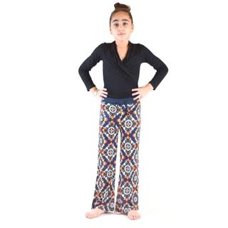 Girl's Multicolor Polyester/Cotton Printed Bell Bottom Pants