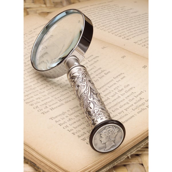 American Coin Treasures Silvertone Mercury Dime Magnifying Glass