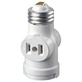 Leviton R52-01403-00W 15 Amp White Medium Base Lamp Holder Outlet Adapter