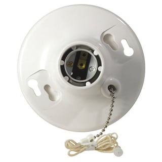 Leviton R50-08827-CW4 White Top Wired Pull Chain Lamp Holder