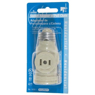 Leviton C23-01406-00I Ivory 2 Outlet Lamp Socket & Pull Chain