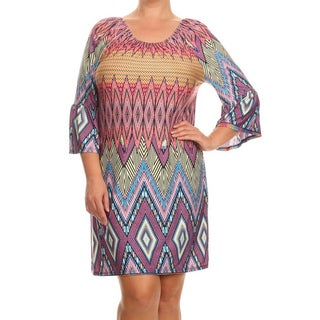 MOA Collection Women's Multicolor Spandex/Polyester Pattern Dress
