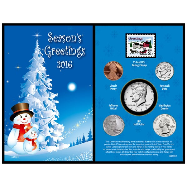 American Coin Treasures 2016 Snowman Greeting Card Coin Collection
