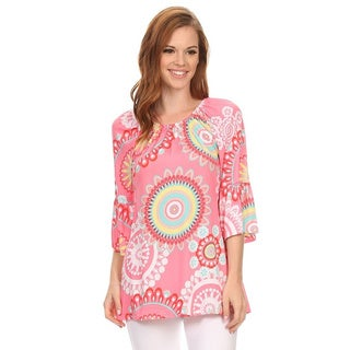 MOA Collection Women's Bright Medallion Sunburst Polyester/Spandex 3/4-sleeve Tunic
