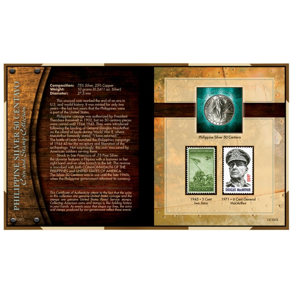 American Coin Treasures World War II Silver Philippines 50 Centavos Coin and Stamp Collection