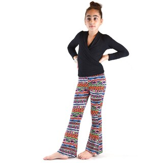Dinamit Girls' Ethnic Printed Soft Bell Bottom Pants