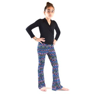 Dinamit Girl's Ethnic-printed Polyester and Spandex Bell Bottom Pants