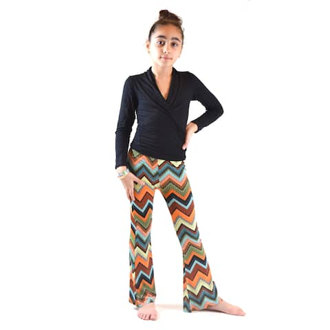 Kids' Multicolor Polyester and Spandex Ethnic Print Soft Bell Bottom Pants