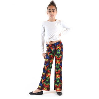 Dinamite Girls' Printed Polyester and Spandex Jersey Palazzo Pants