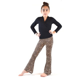 Kids' Cheetah-print Soft Bell-bottom Pants