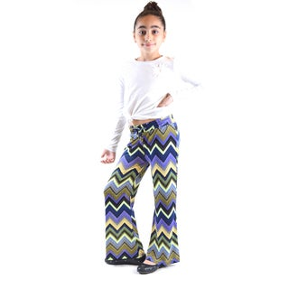 Girl's Multicolored Polyester/Spandex Jersey Palazzo Pants
