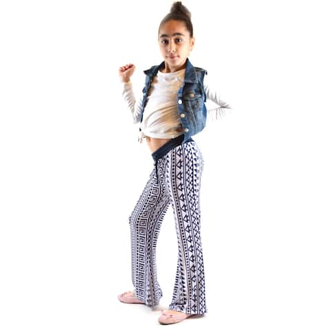 Dinamit Girl's Golden Black Big Multicolor Polyester and Spandex Palazzo Leggings