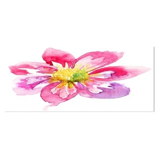 Designart 'Full Bloom Pink Flower' Floral Metal Wall Art