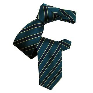 Dmitry Men's Teal Grey Silk Striped Italian Tie