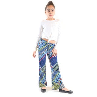 Golden Black Girl's Printed Jersey Palazzo Pants