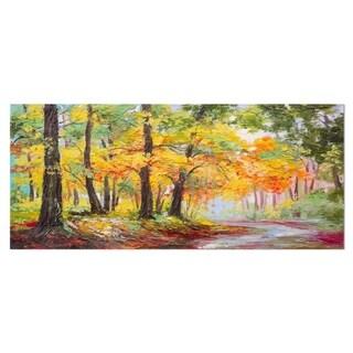 Designart 'Colorful Autumn Forest' Landscape Metal Wall Art
