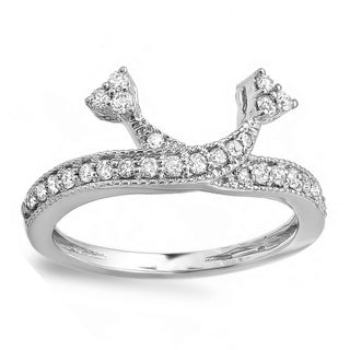 Elora 14k White Gold 1/2ct TDW Round Diamond Anniversary Wedding Band Enhancer Guard (H-I, I1-I2)