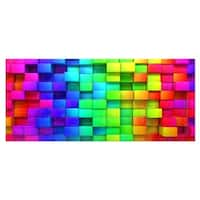 Designart 'Rainbow of Colorful Boxes' Abstract Metal Wall Art