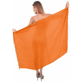 La Leela Women's Orange Rayon 70-inch x 43-inch Shell Tassled Cover-up Sarong with Clip