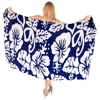 La Leela Women's Blue Rayon 78-inch x 43-inch Hibiscus Pareo Wrap With Sarong Clip